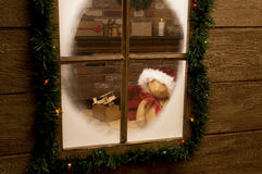 Regard dans l'atelier de Santa Image stock