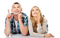 Regard de couples sur l'espace vide de copie Images stock