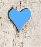 Regard de forme de coeur à l'extérieur sur la trappe en bois photographie stock libre de droits