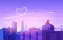 Regard de garçon et de fille au-dessus du paysage urbain Jour romantique Illustration mignonne de vecteur Images stock