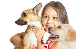 Regard de petite fille et de chien Photo libre de droits