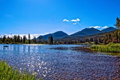 Regard de Sprague Lake au printemps photographie stock libre de droits