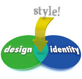 Regard de Venn Diagram Design Identity Unique de région de recouvrement de style Images stock