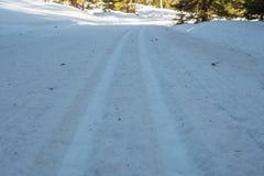 Regard en bas des voies de ski de pays croisé Images libres de droits