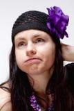 Regard ennuyé et malheureux de jeune femme Images libres de droits