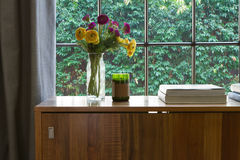 Regard intérieur chaud sur des perspectives vertes de jardin de haie Photos stock