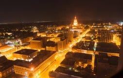 Regard léger de nuit au bâtiment de capitale de l'État, Springfield Illino Photos stock