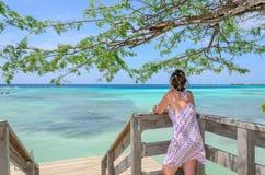Regard par les arbres de palétuvier en plage d'Aruba Photo stock