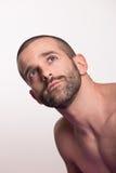 Regard principal de visage de jeune homme en haut  Photo stock