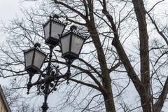 Regard rustique de route de cru d'hiver grand de lampe rétro image libre de droits