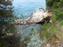 Regard vers le bas à la mer de turquoise Images stock