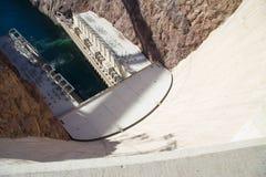 Regard vers le bas du barrage de Hoover Photo stock