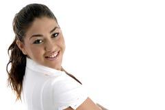 regardant le modèle souriant vous Photographie stock libre de droits