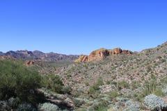 Regardant occidental à travers le désert de l'Arizona, le comté de Pinal, Arizona, Etats-Unis Photos stock