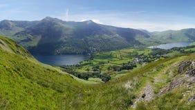 Regardant vers le bas à Buttermere, secteur de lac Photographie stock libre de droits