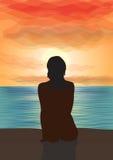 Regarder fixement le coucher du soleil. Illustration de Vecteur