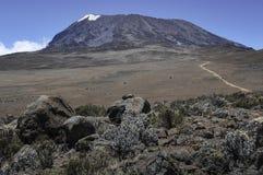 Regarder Kilimanjaro en arrière de l'itinéraire de Marangu Image libre de droits