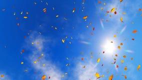 Regarder le ciel ensoleillé avec les feuilles d'automne en baisse illustration stock