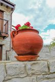 Regarder un pot rond d'usine de terre cuite avec un élevage rouge de géranium Images stock