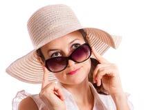 Regardez au-dessus des lunettes de soleil Image libre de droits