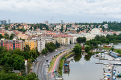 Regardez au Vltava la rivière à Prague Photo libre de droits