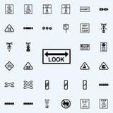 regardez l'icône de poteau de signalisation Ensemble universel d'icônes ferroviaires d'avertissements pour le Web et le mobile illustration stock