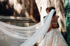 Regardez le bride& x27 ; dos de s dont pilote le voile tandis qu'elle étreint photos stock