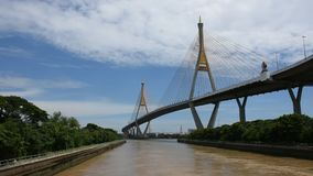 Regardez le paysage et le paysage urbain d'Amphoe Phra Pradaeng au pont de Bhumibol avec le fleuve Chao Phraya banque de vidéos