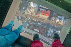 Regardez vers le bas de Skytower, Aucklad, Nouvelle-Zélande Images libres de droits