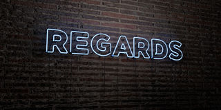 REGARDS -Realistic Neon Sign on Brick Wall background - 3D rendered royalty free stock image. Can be used for online banner ads and direct mailers Stock Illustration