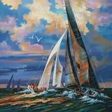 Regata da navigação no por do sol Autor: Nikolay Sivenkov ilustração royalty free