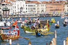 Regata Storica historisk regatta I Venedig Italien Fotografering för Bildbyråer