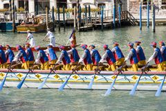 Regata Storica historisk regatta I Venedig Italien Arkivfoton