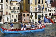 Regata Storica, Venice. Venice, Italy - September 4, 2016: Historical ships open the Regata Storica, the main event in the annual Voga alla Veneta rowing Royalty Free Stock Photography