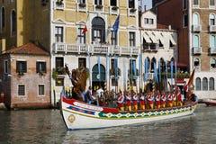 Regata Storica, Venice. Venice, Italy - September 4, 2016: Historical ships open the Regata Storica, the main event in the annual Voga alla Veneta rowing Stock Image