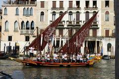 Regata Storica, Venice. Venice, Italy - September 4, 2016: Historical ships open the Regata Storica, the main event in the annual Voga alla Veneta rowing Royalty Free Stock Photos