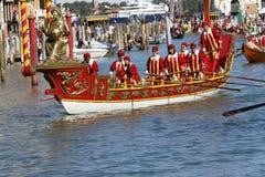 Regata Storica, Venice. Venice, Italy - September 6, 2015: Historical ships open the Regatta Storica, the main event in the annual Voga alla Veneta rowing Stock Image