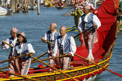 Regata Storica, Venice. Venice, Italy - September 6, 2015: Historical ships open the Regatta Storica, the main event in the annual Voga alla Veneta rowing Royalty Free Stock Photo