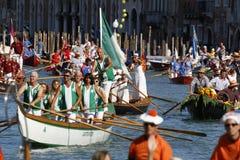 Regata Storica, Venice. Venice, Italy - September 6, 2015: Historical ships open the Regatta Storica, the main event in the annual Voga alla Veneta rowing Royalty Free Stock Image