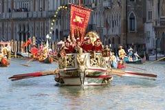 Regata Storica, Venice. Venice, Italy - September 6, 2015: Historical ships open the Regatta Storica, the main event in the annual Voga alla Veneta rowing Royalty Free Stock Photos