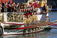 Regata Storica, Venice. Venice, Italy - September 6, 2015: Historical ships open the Regatta Storica, the main event in the annual Voga alla Veneta rowing Stock Photos