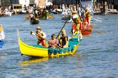 Regata Storica, Venice. Venice, Italy - September 6, 2015: Historical ships open the Regatta Storica, the main event in the annual Voga alla Veneta rowing Royalty Free Stock Photography