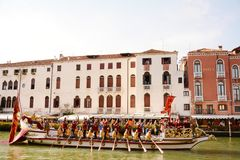 Regata Storica, Venice. Team of rowers in a luxurious boat opens the water parade, Regata Storica, in Venice, Italy, Europe Royalty Free Stock Photos