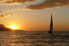 Regatta ναυσιπλοΐας στο ηλιοβασίλεμα στοκ εικόνα