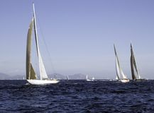 Regatta. Modern sailing yachts competing in the Voils de St-Tropez Stock Photography