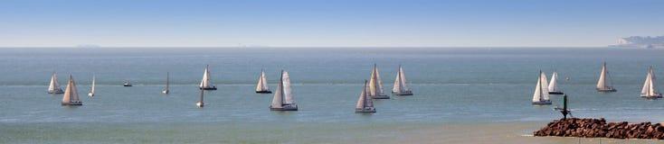 Regatta banner. Start of a regatta of sailboats Royalty Free Stock Image