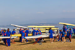 Regatta Canoe Crafts Teams Preparation Royalty Free Stock Photo