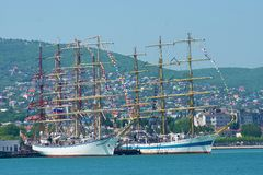Regatta. Participants sailing regatta in the port of Novorossiysk Stock Photography