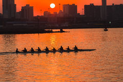 Regatta Rowing Sunrise Colors Stock Photo
