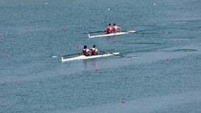 Regatta in rowing on the tranquil lake. Full hd video stock footage